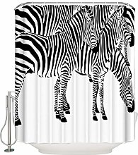 Waterproof Curtain Animal Zebra Black And White