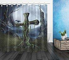 Waterproof Shower Curtain Fabric Hooks Night