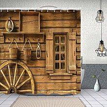 Waterproof Shower Curtain,Old Wagon Wheel Next to