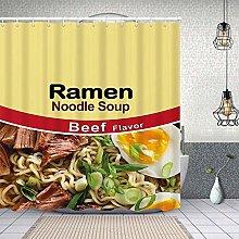Waterproof Shower Curtain,Ramen Noodle Soup Beef