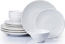 Waterside 12-Piece Embossed Melamine Dinner Set