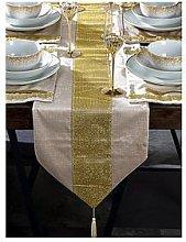 Waterside 7 Piece Velvet Diamante Gold Runner And