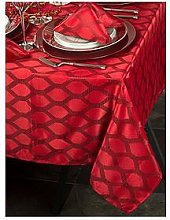 Waterside 9 Piece Red Geo Christmas Table Linen Set