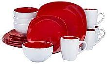 Waterside Nova 16-Piece Christmas Tableware Set - Red