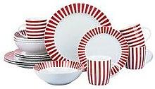 Waterside Red Stripe 16-Piece Christmas Tableware Set