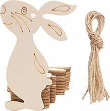 Watopi 10pcs Hollow Cut Easter Egg Wooden Tag