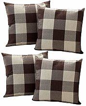 Watopi 4Pcs/Set Classic Tartan Cushion Cover