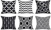Watopi 6 Pc/Set Black Geometric Pillowcase Modern