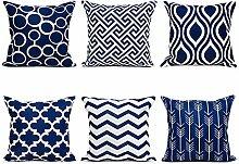 Watopi 6 Pc/Set Navy Geometric Pillowcase Modern