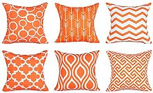 Watopi 6 Pc/Set Orange Geometric Pillowcase Modern