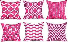 Watopi 6 Pc/Set Pink Geometric Pillowcase Modern