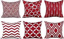 Watopi 6 Pc/Set Red Geometric Pillowcase Modern