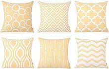 Watopi 6 Pc/Set Yellow Geometric Pillowcase Modern