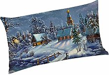 Watopi Christmas Greeting Soft Linen Pillow Cases