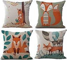 Watopi Fox Cushion Cover Plants Pillowcase Solid