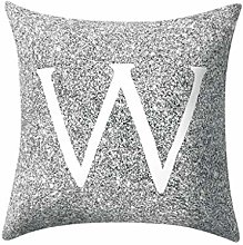 Watopi Grey Pillow Case, Gray Letter Peach