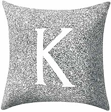 Watopi Grey Pillow Case, Gray Letter Peach