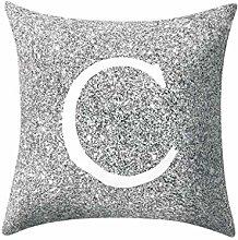 Watopi Grey Pillow Case, Letter Peach Cashmere,