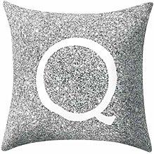 Watopi Grey Pillow Case, Silver Metal Letter Peach