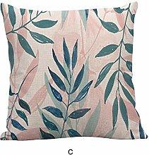 Watopi Multicolour Green Leaf Linen Cushion Cover,