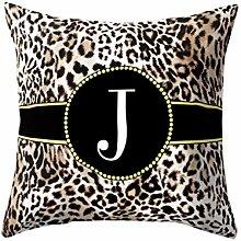 Watopi Noble Leopard Skin Initial Letter Cushion