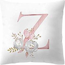 Watopi Pink Soft Pillowcase, Alphabet Letter