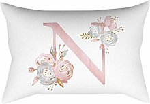 Watopi Pink Soft Pillowcase, Alphabet Letter