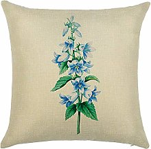 Watopi Retro Flower Painting Green Plants Cushion