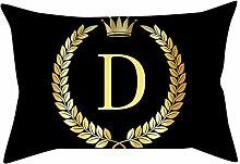 Watopi Vintage Black Gold Initial Letter Cushion