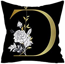 Watopi Vintage Black Gold Initial Letter Cushion