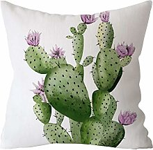 Watopi Vintage Green Leaf Palm Cushion Cover,