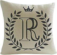 Watopi Vintage Letters Cushion Cover Crown Initial