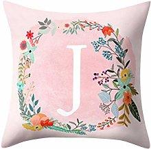 Watopi Zippered Pillow Case, Alphabet Pattern