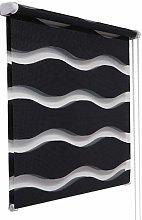 Wave 3D Black Dual Zebra Window Roller Blinds, 16