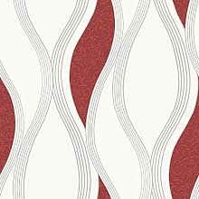 Wave Embossed Textured Wallpaper - Red - E62010