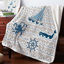 Wave Sailing Octopus And Whale Velvet Home Sofa
