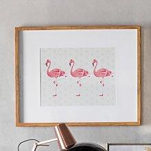 Wayne Flamingoes Crossing Print Framed Wall Art