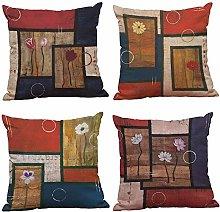 WAZA 4PCS Throw Pillows 45 * 45cm Linen Polyester