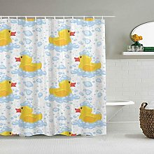 Wdoci Decoration Shower Curtain,Yellow Rubber Duck