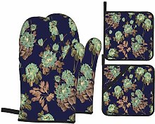 Wdoci Oven Mitts and Pot Holders 4pcs Set,Seamless