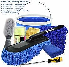 WE-WHLL 9Pcs Microfibre Car Wash Cleaning Tools