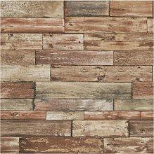 Weathered Wood Effect Wallpaper Faux Wooden Panels