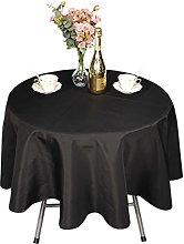 Weddecor Black Round Table Cloth Cotton Polyester