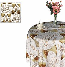 Weddecor Christmas Tablecloths Round Polyester