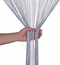 Weddecor Silver String Curtains Glitter Fringe