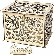 Wedding Card Box with Lock DIY Money Wooden Gift