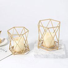 Wedding Geometric Gold Metal Tea Light Holder Pillar Candle Stand Lantern Table,11X12.5cm