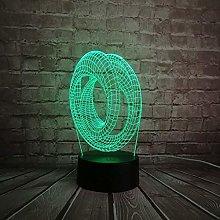 Wedding Gift Bike Lights 3D Lamp Double Annular