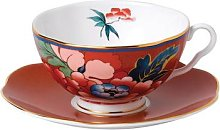 Wedgwood - Paeonia Teacup & Saucer - Red