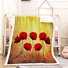 WEDSGTV Baby Blanket Vintage Plant Flower Poppy